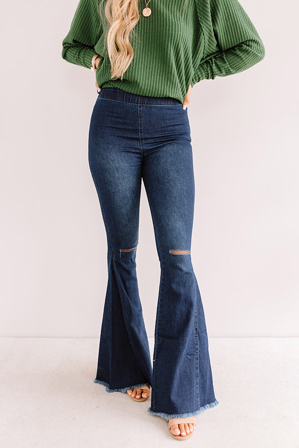 The Blakely High Waist Flares In Dark Wash