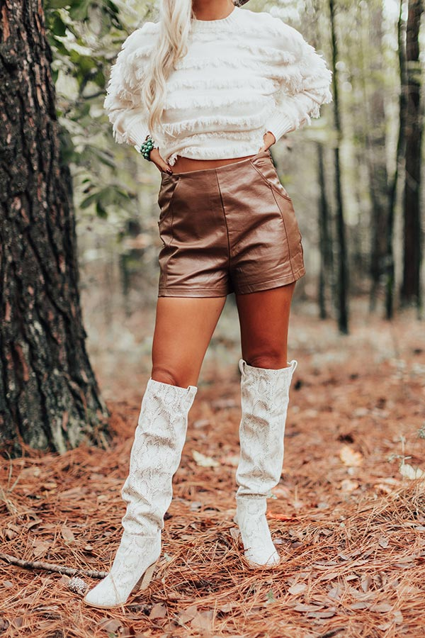 The Glennon High Waist Faux Leather Shorts In Chocolate