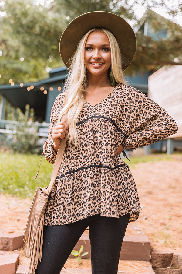Love of Lattes Leopard Babydoll Top