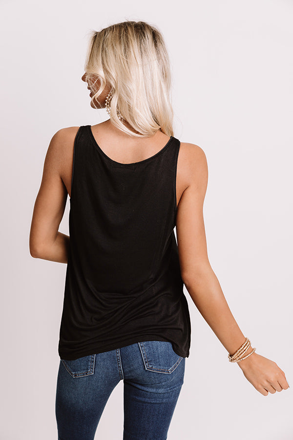Talking All Night Shift Top In Black