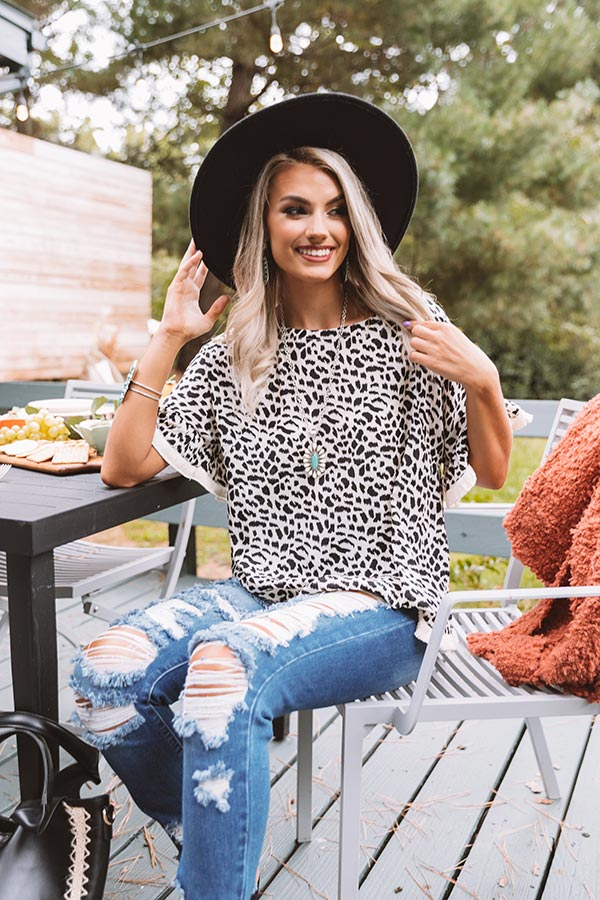 Town Hall Leopard Shift Top In Ivory