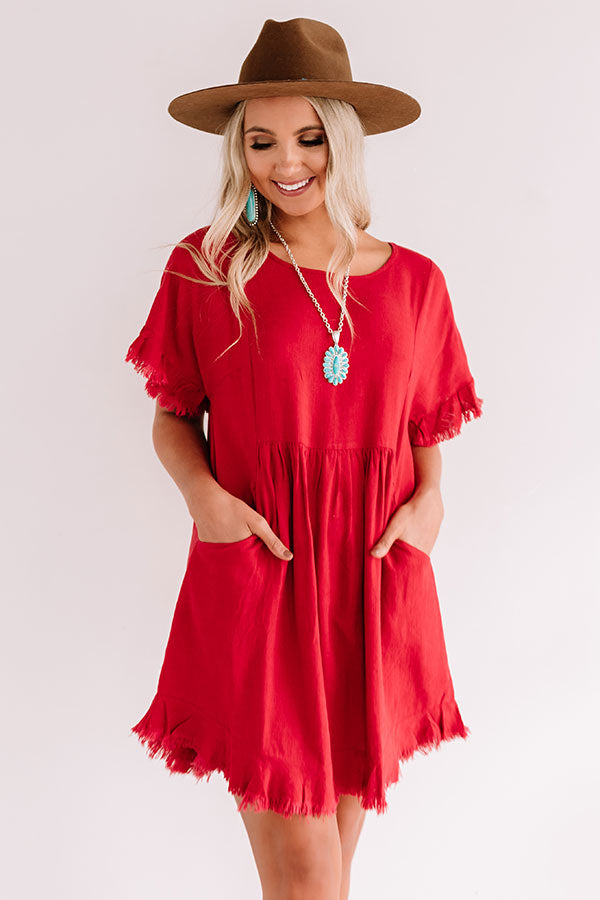 Really Lovely Babydoll Dress In Crimson