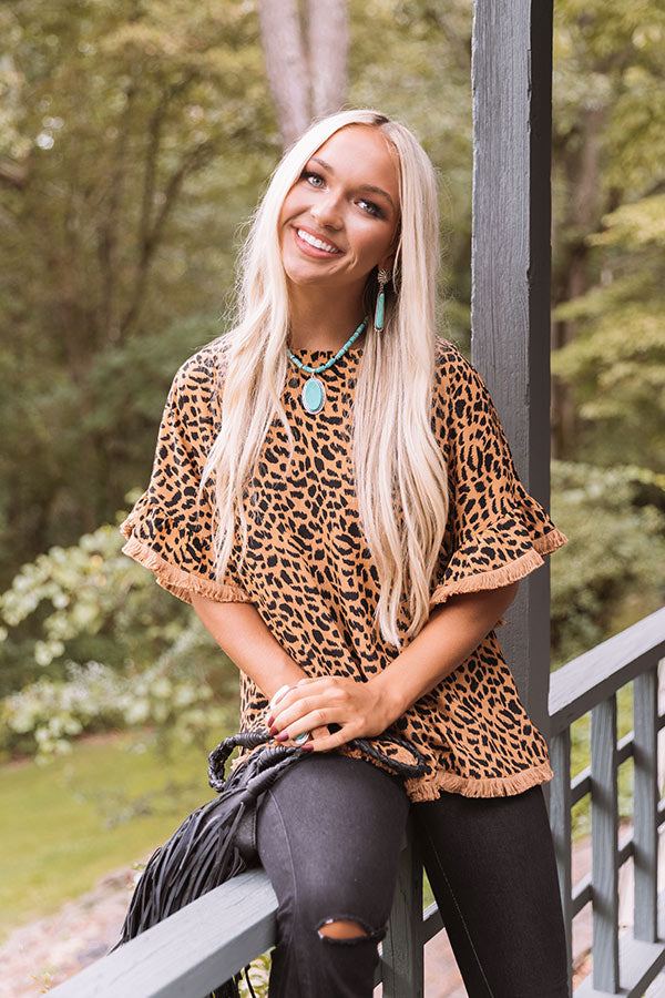 Town Hall Leopard Shift Top In Camel
