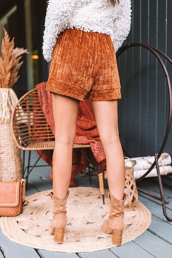 At Home Cozies Chenille Shorts In Rust