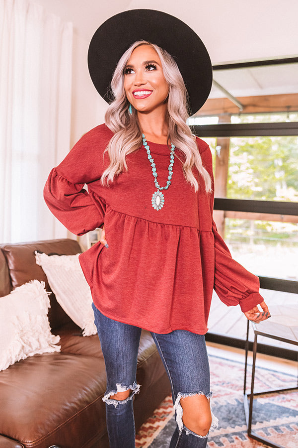 Fall Destination Babydoll Sweater In Wine