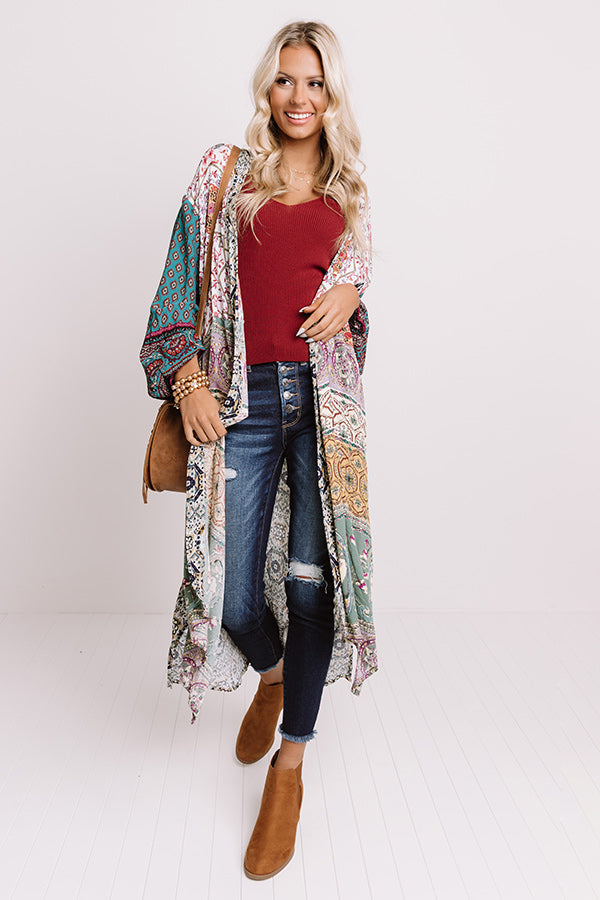 Out Of The Woods Floral Duster In Sage