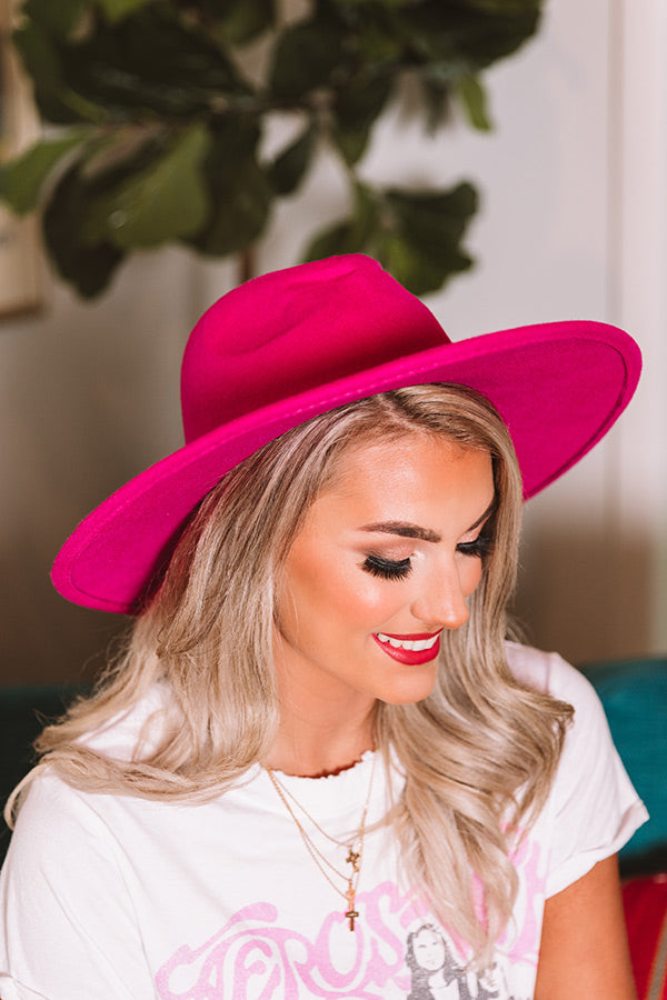 Brunch Babe Felt Hat in Hot Pink