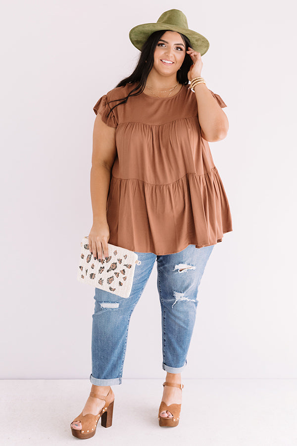 Love A Latte Babydoll Top In Chocolate