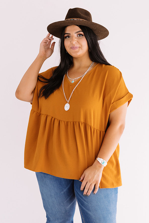 Backseat Sips Babydoll Top In Pumpkin