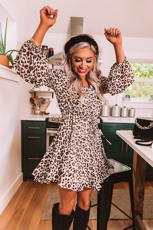 Brunch Babe Leopard Dress In Ivory