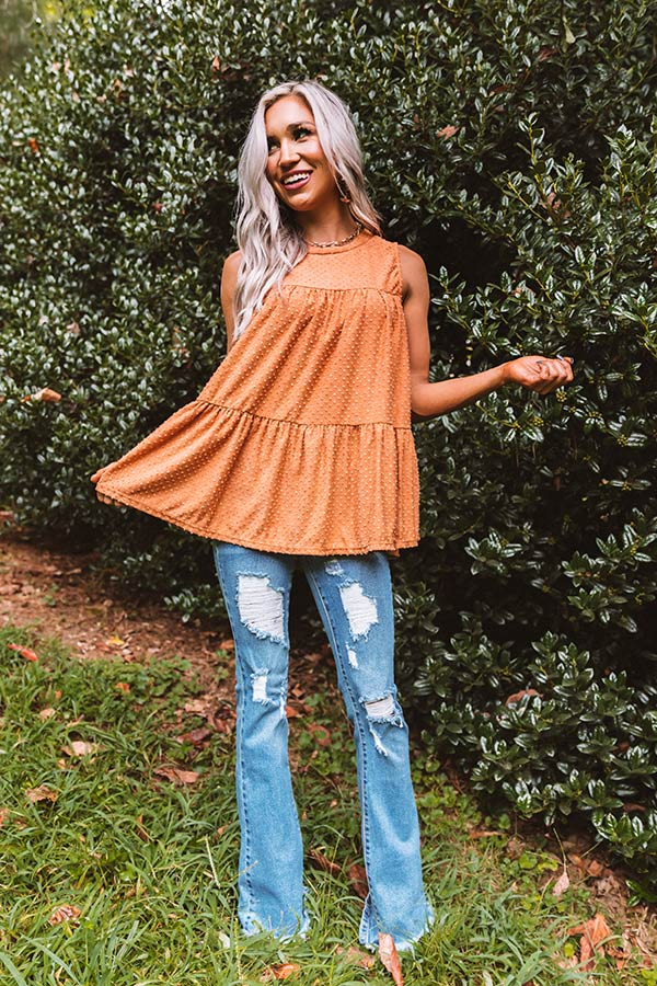 Lattes With Friends Babydoll Top In Pumpkin