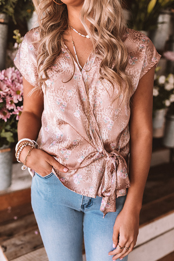 Need A Latte Wrap Top In Blush