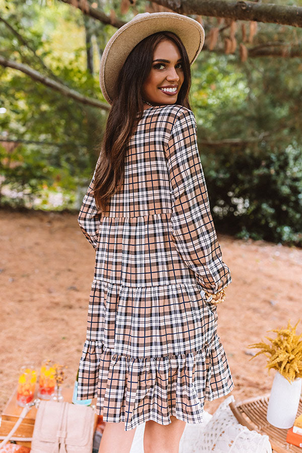 Cinnamon And Spice Plaid Babydoll Dress In Iced Latte