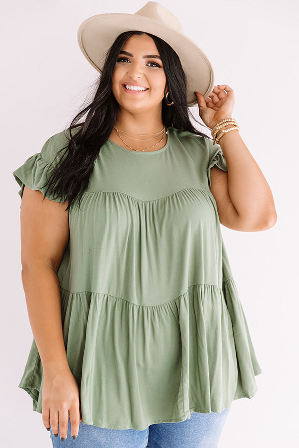 Love A Latte Babydoll Top In Pear
