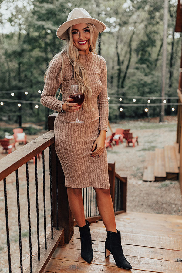 True Feelings Ribbed Midi In Iced Latte