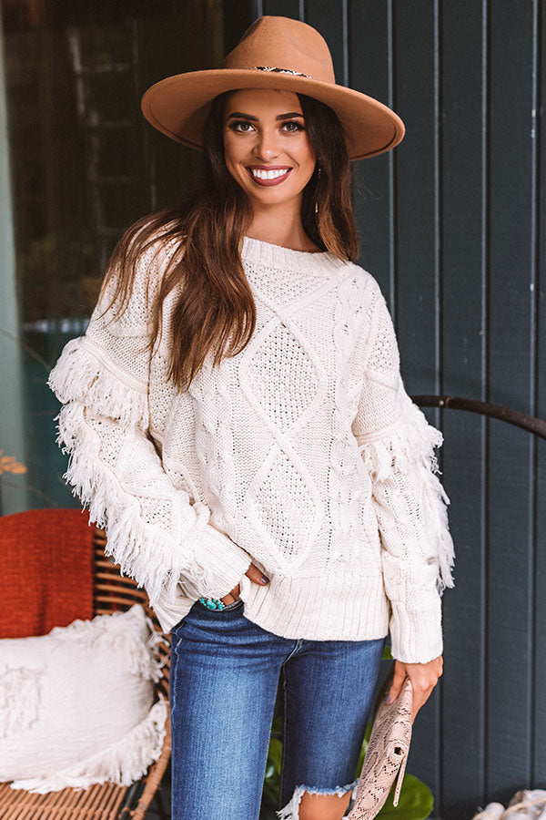 Cozy With You Cable Knit Sweater in Ivory