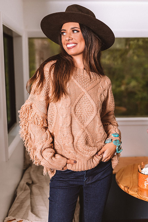 Cozy With You Cable Knit Sweater in Iced Mocha