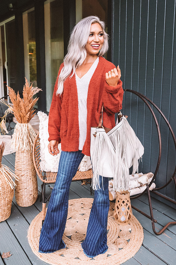 Harvest Mornings Ultra Soft Cardigan in Dark Rust