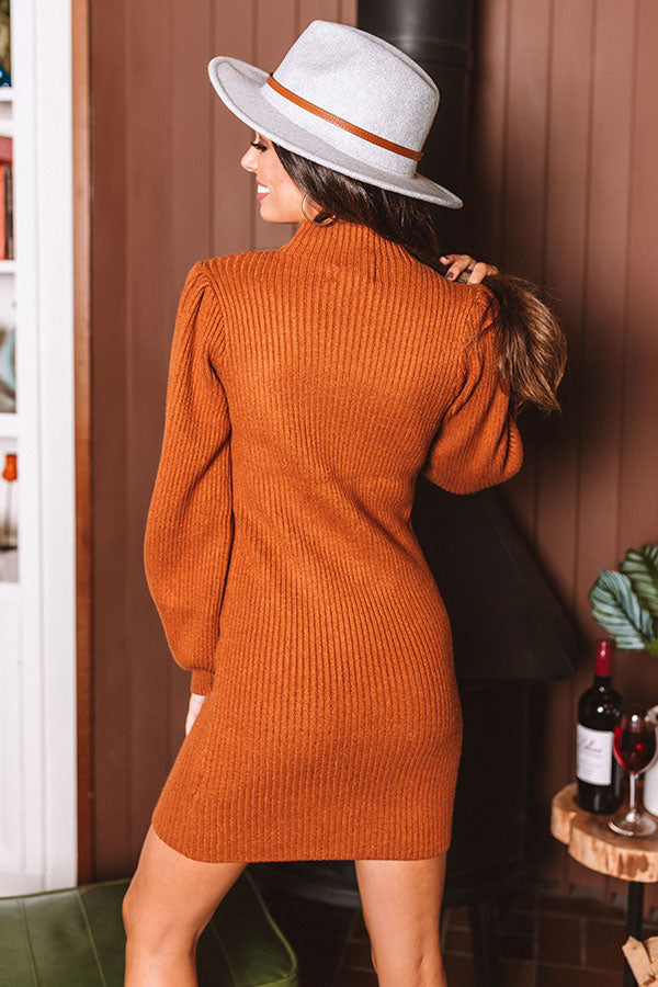 Fall In NYC Sweater Dress in Rust