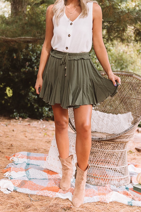 Headed For Happy Hour Skort In Olive