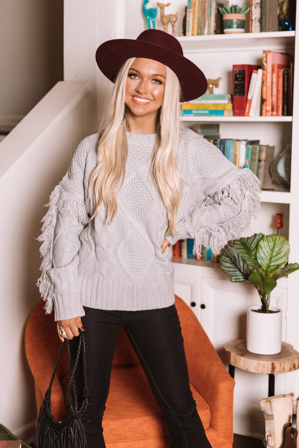 Cozy With You Cable Knit Sweater in Grey