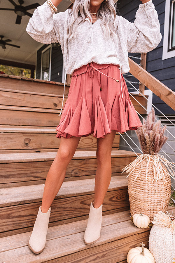 Headed For Happy Hour Skort In Rustic Rose