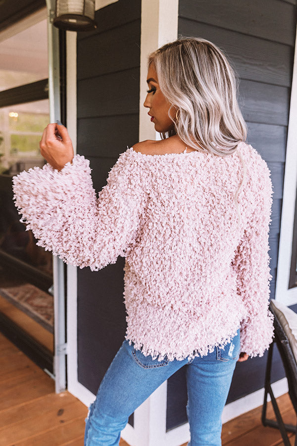 Piece Of Paris Popcorn Knit Sweater in Pink