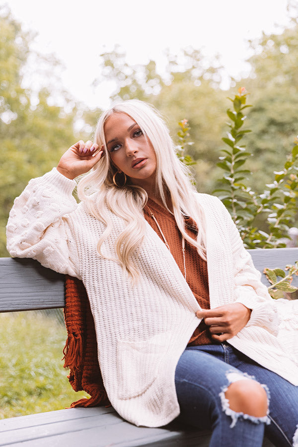 Falling Back Knit Cardigan in Ivory