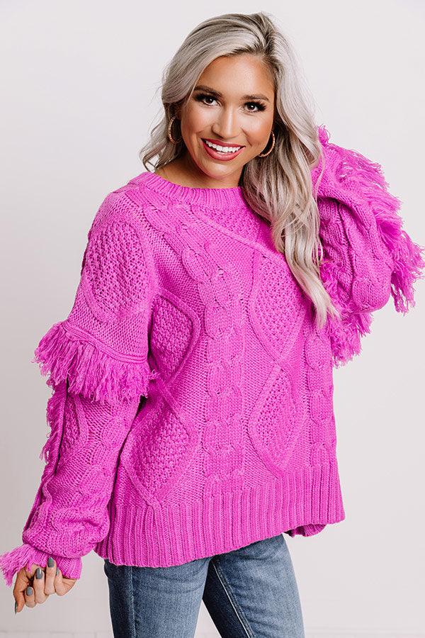 Cozy With You Cable Knit Sweater in Violet