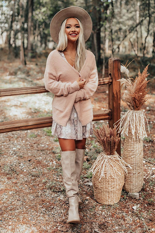 Fall Getaway Ultra Soft Cardigan in Blush