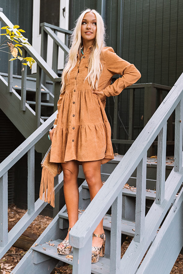 Fall Adventure Babydoll Corduroy Dress In Camel