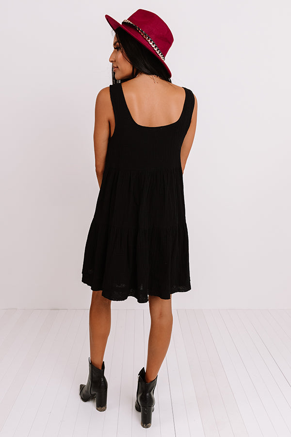 Vermont Views Babydoll Dress In Black
