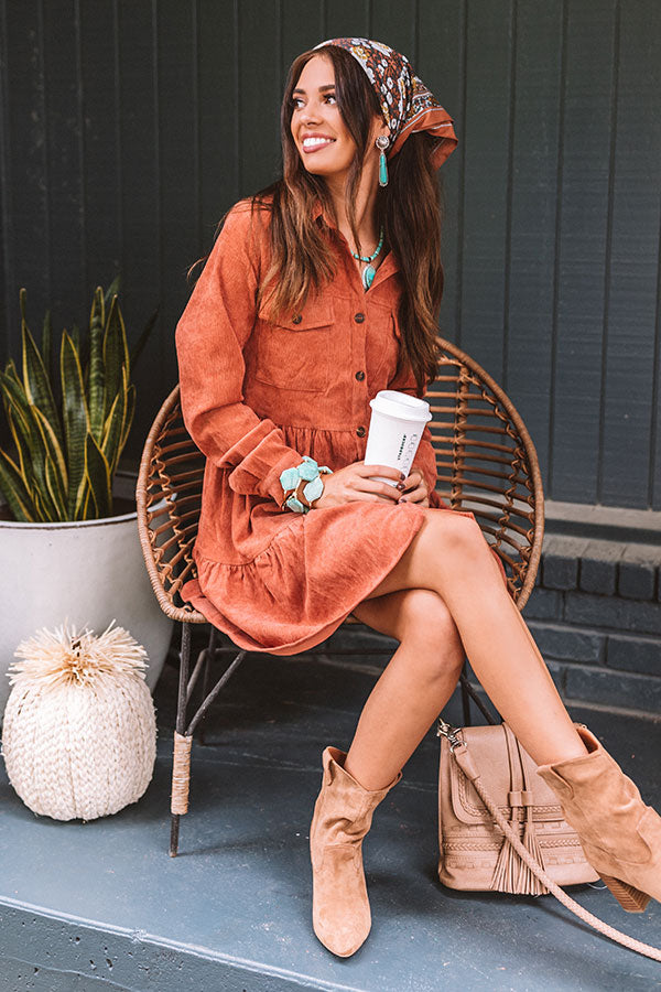Fall Adventure Babydoll Corduroy Dress In Rust