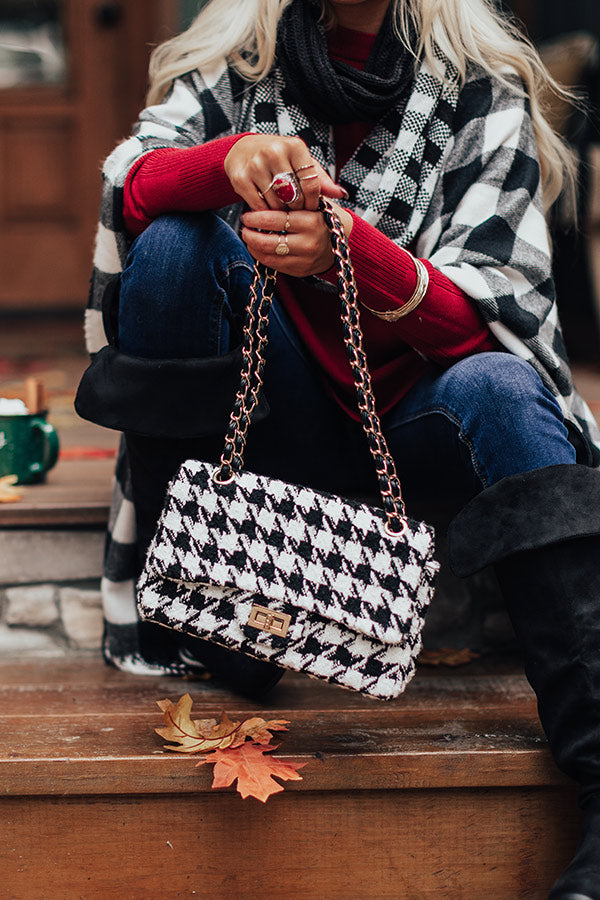 Meant To Be Houndstooth Crossbody In White