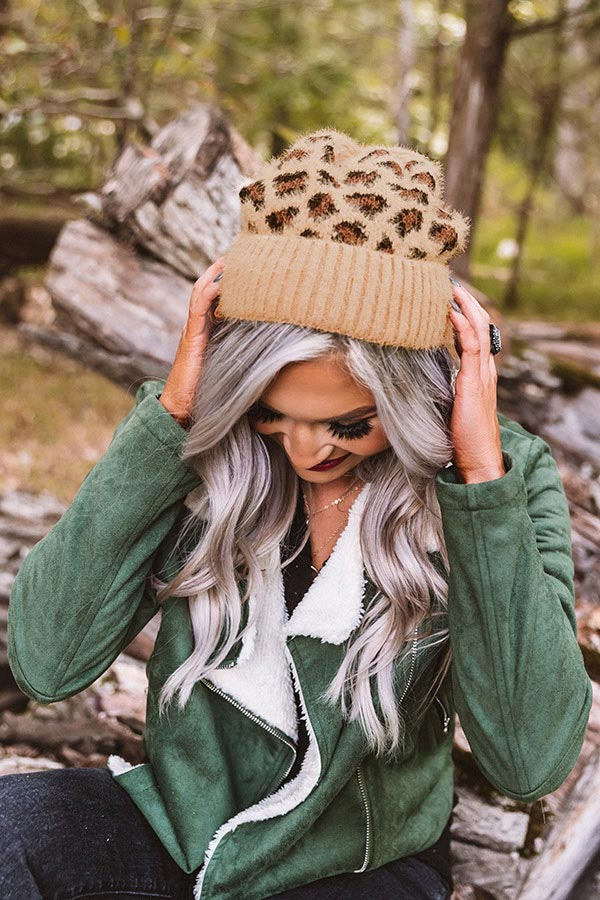 North Lake Leopard Beanie in Brown