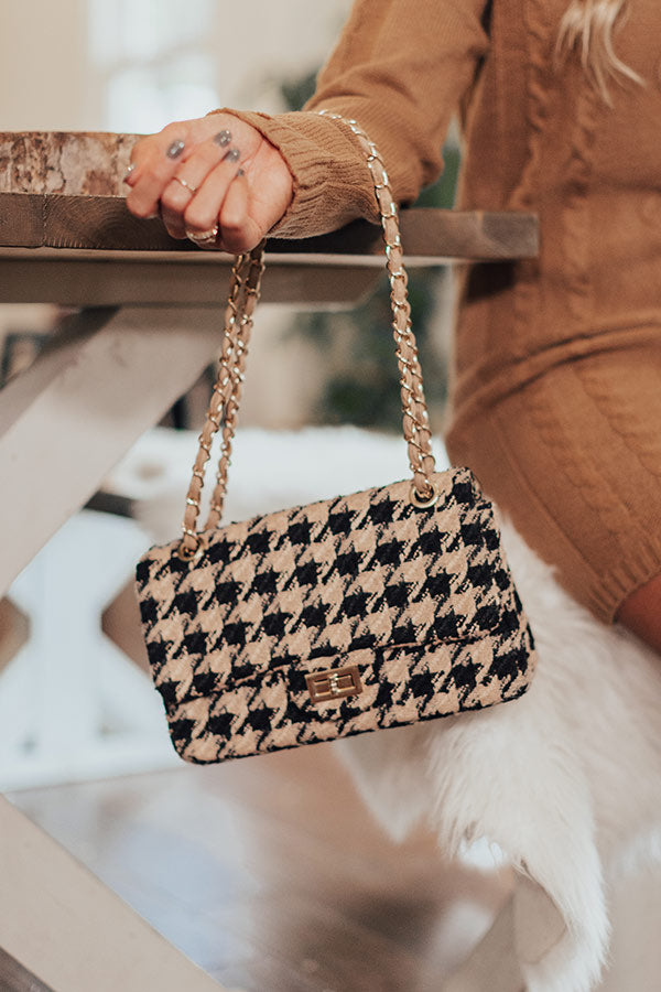 Meant To Be Houndstooth Crossbody In Iced Mocha