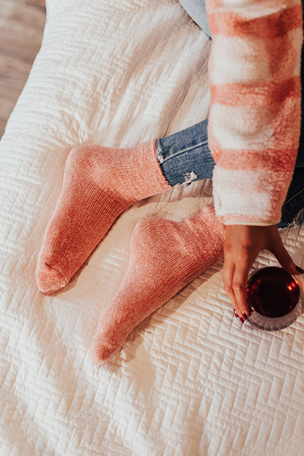 Cozy Factor Chenille Socks In Pink