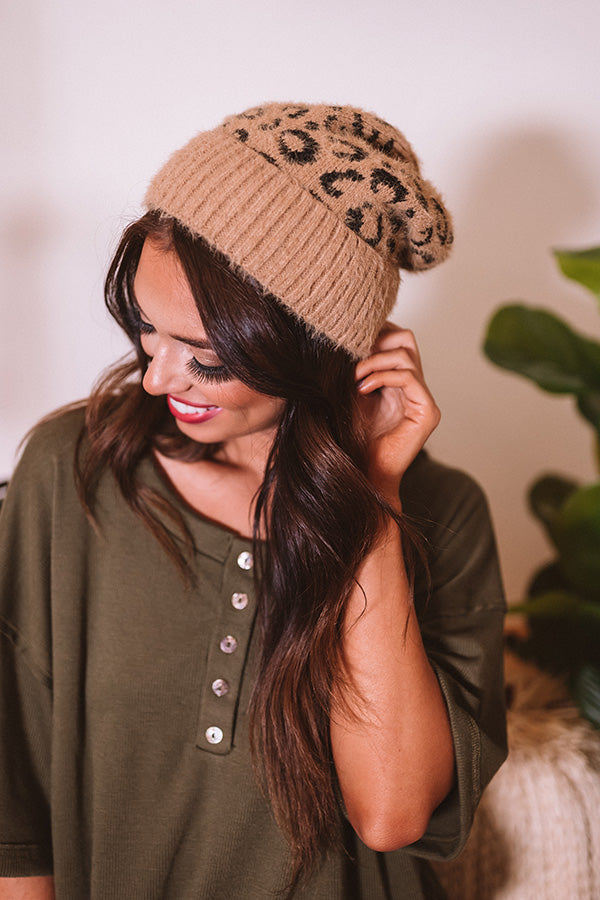 North Lake Leopard Beanie in Khaki