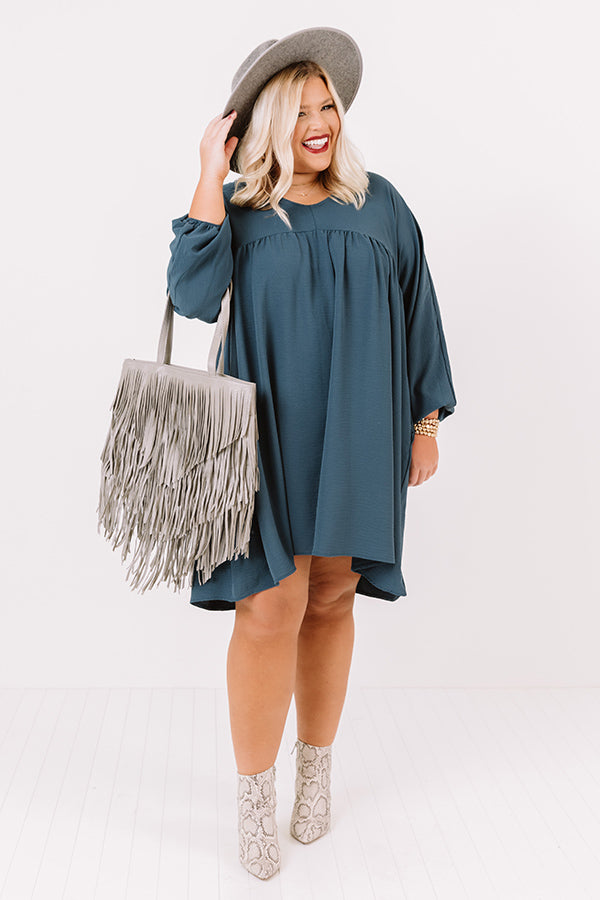 Charming Pose Babydoll Dress In Teal
