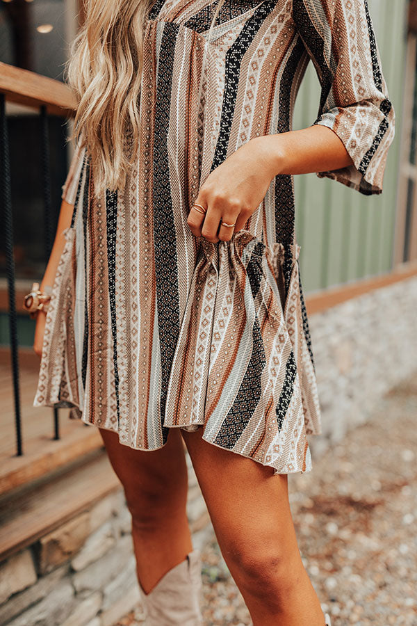 Moonlit Canyon Babydoll Dress In Taupe