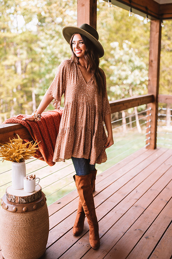 Warm Smiles Shift Dress In Camel