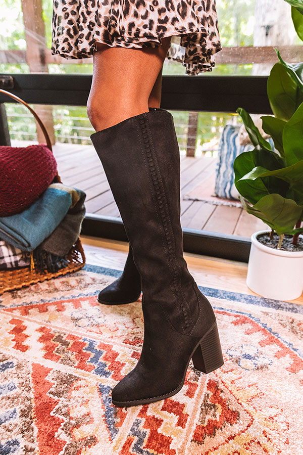 The Briella Faux Suede Knee High Boot In Black