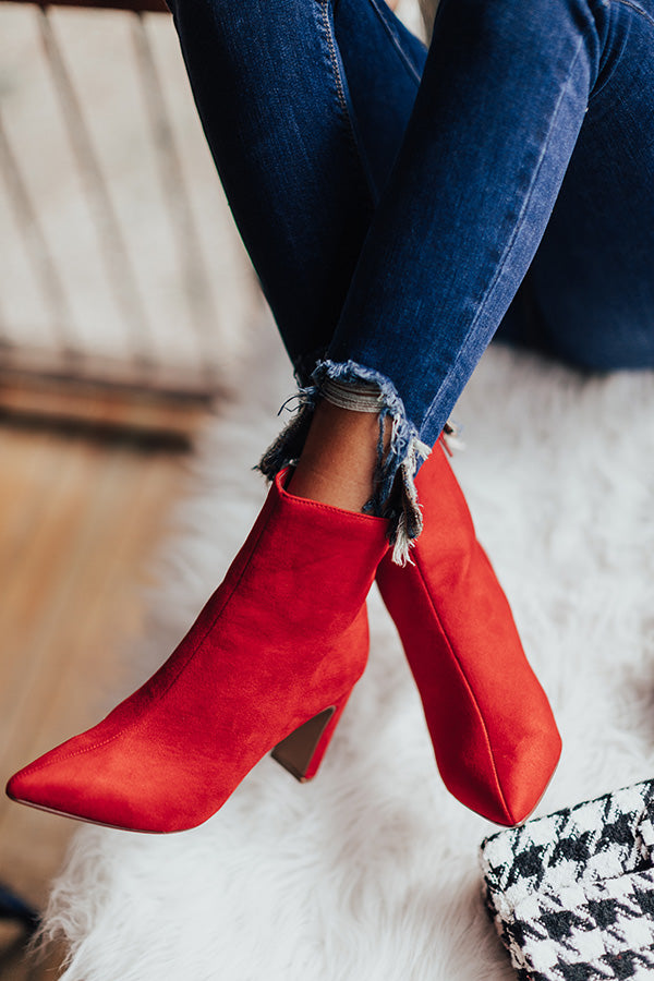 The Erin Faux Suede Ankle Bootie in Red