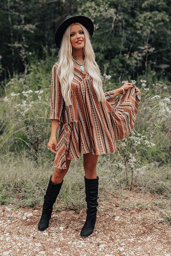 Moonlit Canyon Babydoll Dress In Rust