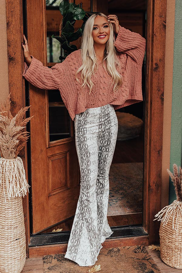 The Blakely High Waist Snake Print Flares
