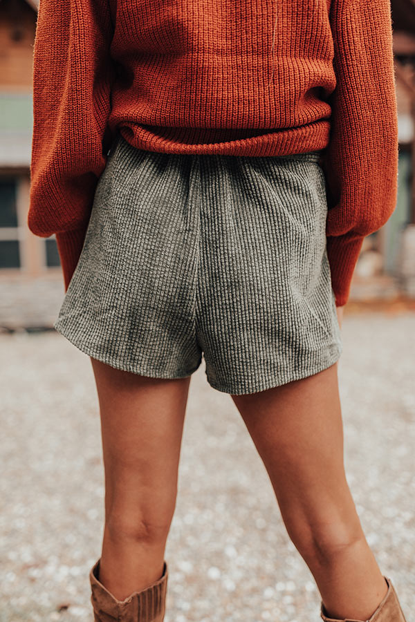 The Kirklynn High Waist Corduroy Shorts In Olive