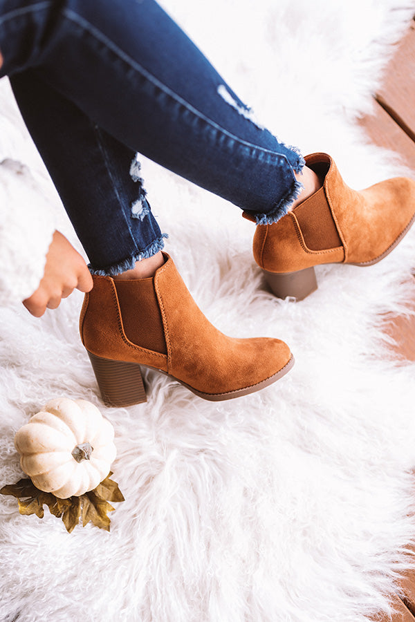 The Ollie Faux Suede Bootie In Brown