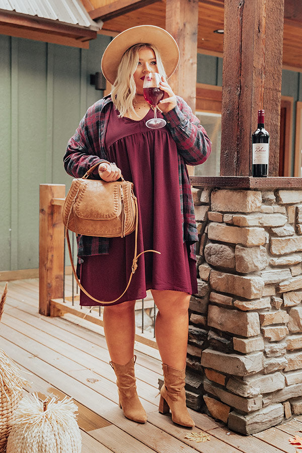 Charming Pose Babydoll Dress In Maroon