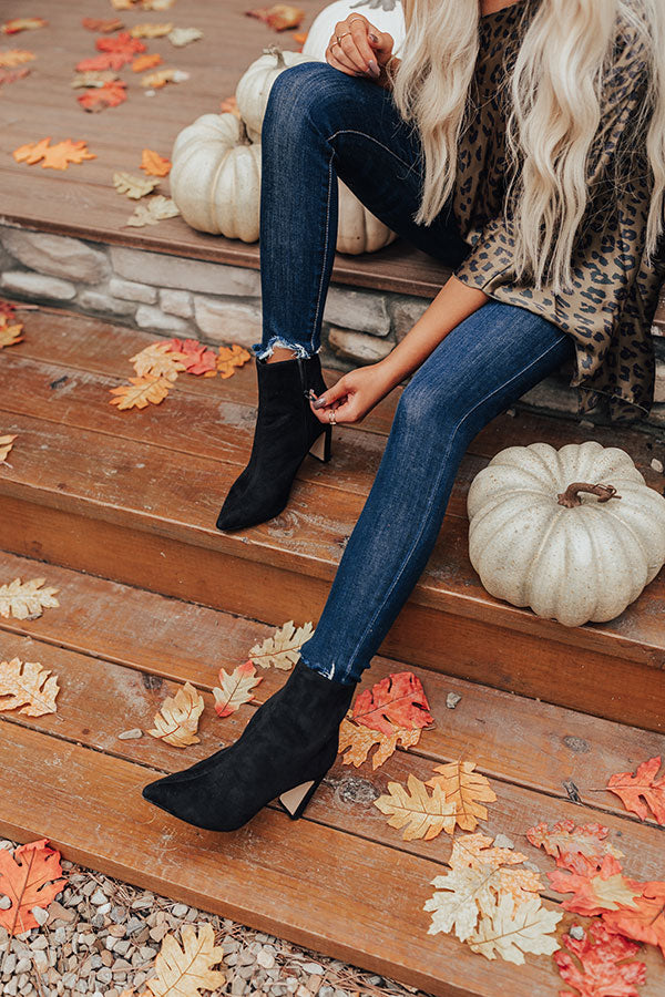 The Erin Faux Suede Ankle Bootie in Black