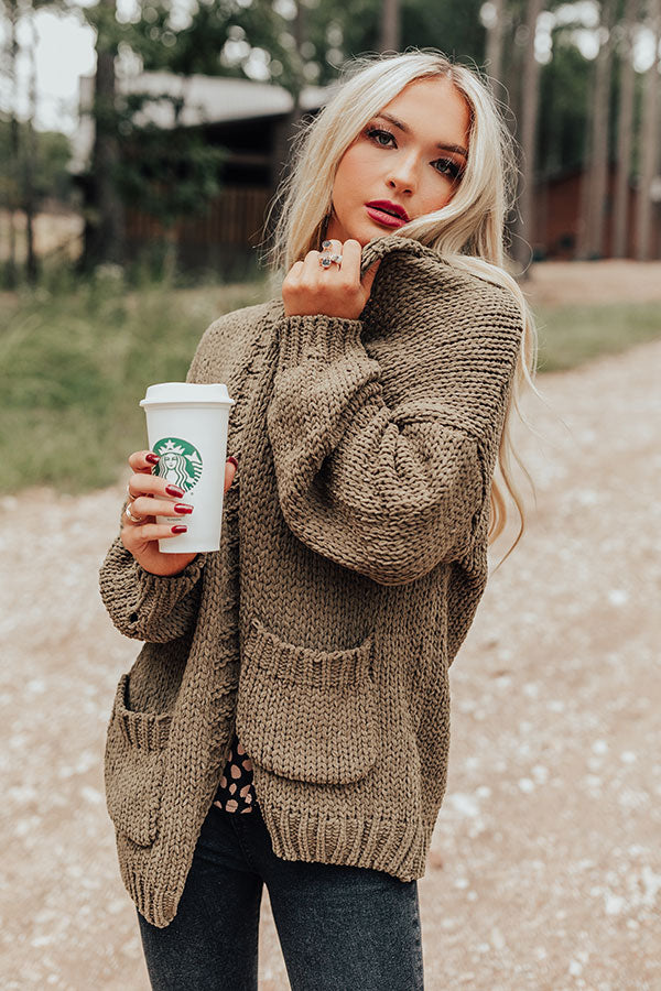 Snuggles So Soft Knit Cardigan In Martini Olive